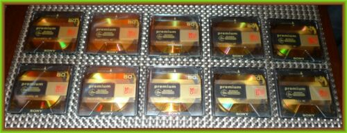 Lot of 10 Sony Premium Gold 80 min Minidisc Hi-MD compatible w/cases FREE SHIP