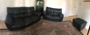 Leather Sofa Set with Fish Tank (Mint Condition)