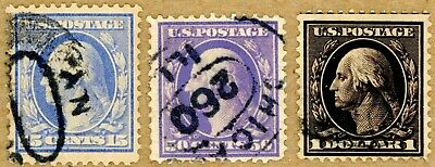 US Scott#340,341,342 F-VF 1908 set of well centered sound stamps, WM confirmed