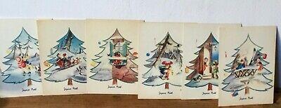 6 original  vintage Christmas cards, unused,  1970'S