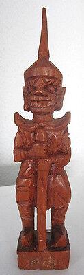 Asiatische HOLZSCHNITZEREI Krieger Tempelwächter Feng Shui Teakholz Handarbeit