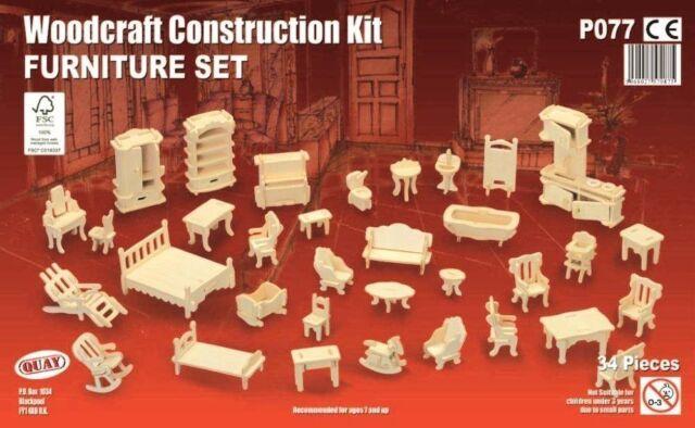 Furniture Set: Woodcraft Quay Construction Wooden 3D Model Kit P077 Age 7 plus