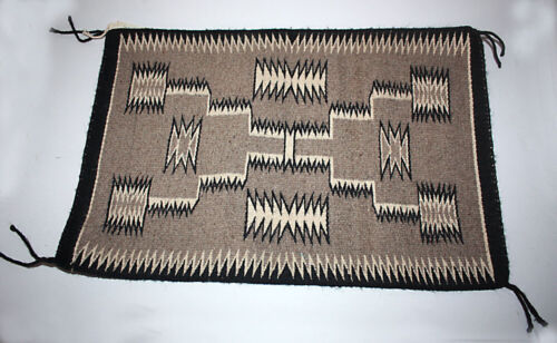 Navajo Rug Storm Pattern by high Grade Weaver Maxine Yazzie with original label