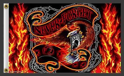POWMIA NEVER FORGET FLAMING BANNER 3 X 5 MOTORCYCLE DELUXE BIKER FLAG #407 NEW