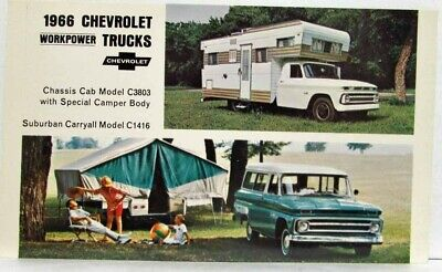 1966 Chevrolet WorkPower Trucks Chassis Cab Camper & Suburban Carryall Postcard for sale  Holts Summit