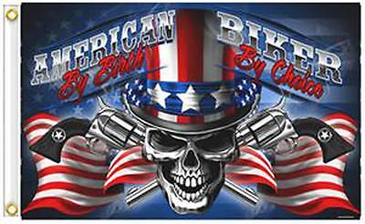 UNCLE SAM AMERICAN BIRTH BIKER BY CHOICE 3 X 5 MOTORCYCLE DELUXE  FLAG #481 NEW