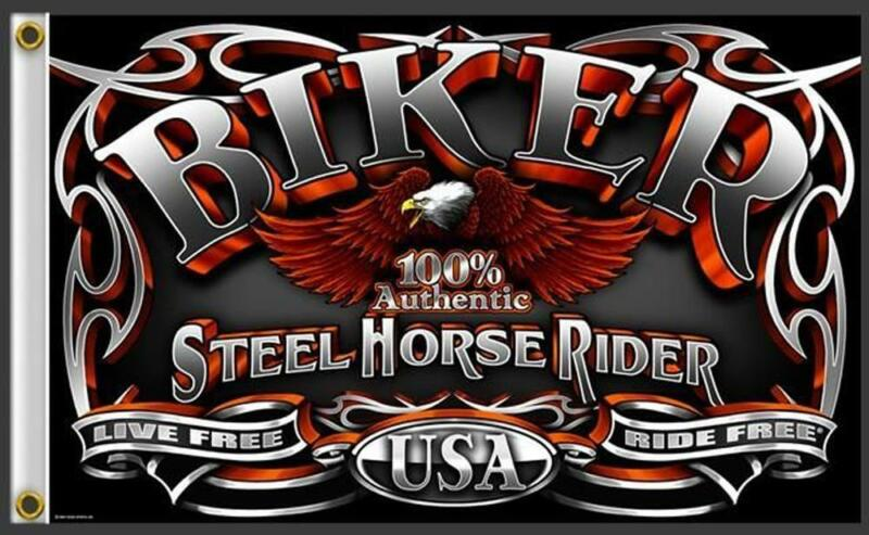 AUTHENTIC STEEL HORSE RIDER 3 X 5 MOTORCYCLE DELUXE BIKER FLAG #380 NEW USA