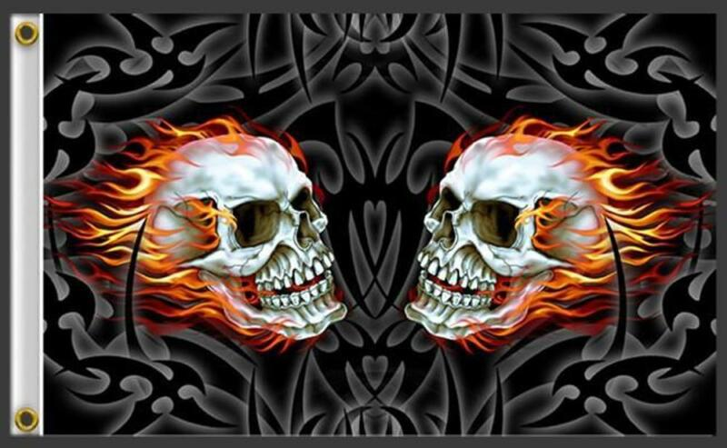 DOUBLE FIRE FLAME SKULL HEADS  3 X 5 MOTORCYCLE BIKER FLAG #349 NEW 5X3 Feet