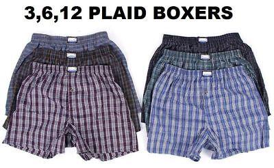 New 3-12 Mens Boxer Check Plaid Shorts Trunk Underwear Cotton Briefs Size S-4XL