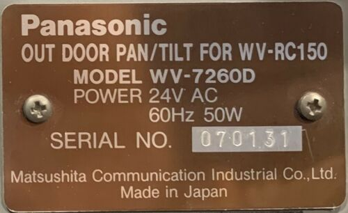 Panasonic WV-7260D Pan/Tilt Mechanism - Tested Working