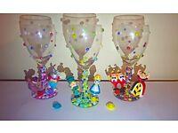 Handmade Glass, Disney, Christmas Present, Alice in Wonderland - Dumbo - Eeyore/ Piglet - Aurora