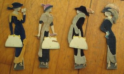 Paper Dolls: Four 1910 Vintage French Standing Dolls w/Realphoto Faces of Women