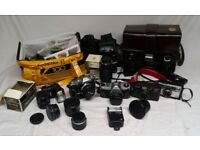Job Lot of Vintage Camera and Accessories - Olympus, Pentax, Kodak etc