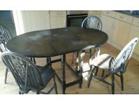Antique Oak Drop Flap Dining Table And Five Chairs