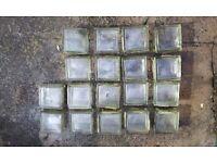 Glass bricks x 18 - 190 x 190mm - USED - PHOTOS ADDED!
