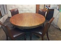 Antique Circular Mahogany Table and 4 Chairs