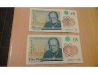 Two new £5 banknotes AK20 series in sequential order