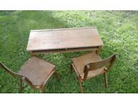 1970's Childs school desk with 2 chairs