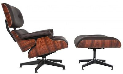 - Eames Mid-Century Lounge Chair & Ottoman Reproduction REAL Dark Brown Leather