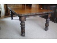 Large 1880s Jacobean revival oak original dinning table