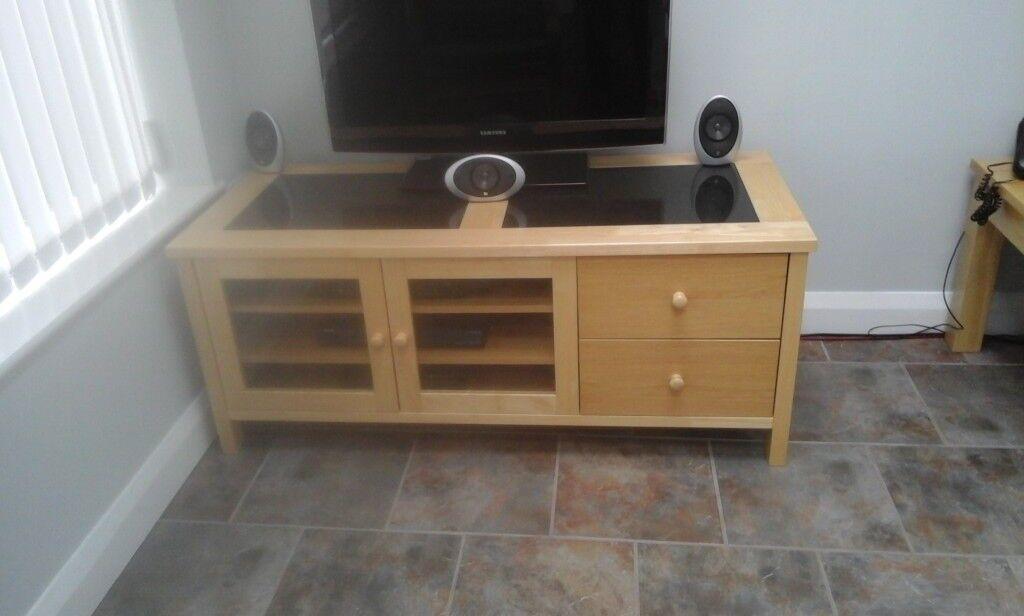Oak Tv Stand With Black Granite Insert Tops In Basford