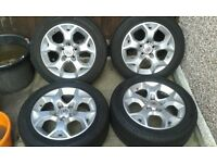 """VAUXHALL ASTRA SXI SNOW FLAKE 16"""" ALLOY WHEELS WITH 205-55-16 TYRES CAME FROM CAR WITH 17,000 MILES"""