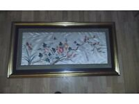 Oriental Silk Embroidered and Framed Wall Hanging