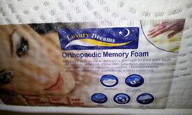 New. Luxury Dreams. Double 135x190, Orthopaedic Memory Foam. 2 sides