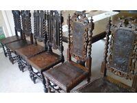 Original Jacobean revival Victorian chairs 6