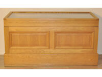 Attractive Good Quality Large Oak Shop Display Cabinet, Locks & Glazed Viewing