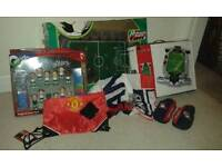 Collection of football games and items