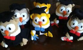Toy knitted owls ideal for graduation or favourite teachers