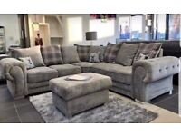 FAST DeLIVERY - VERONa Large Corner sofa FULLY Padded Seats Beautiful COLOURS + all cushion Included