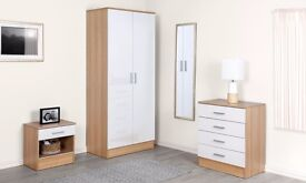 SALE NOW ON!! High Gloss White & Oak Bedroom set Wardrobe 4 Drawer Chest Of Drawers Bedside Table