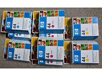 Job Lot HP 44 Inkjet Print Cartridges x 9, New Sealed Boxes OOD, 3 Colours 42ml
