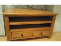Solid wood television unit. 2 drawers £80 ono
