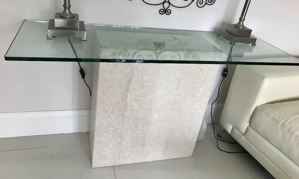 Glass top stone console table