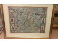 **BARGAIN** picture in frame. Coloured map of first atlas of GB. 1610 edition. Excellent condition
