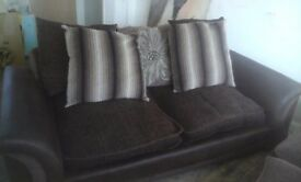 Two brown 3 seater sofas