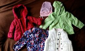 Baby girl coat, jackets and body warmer vest bundle 9-18 months