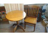 Oak table with oak chair