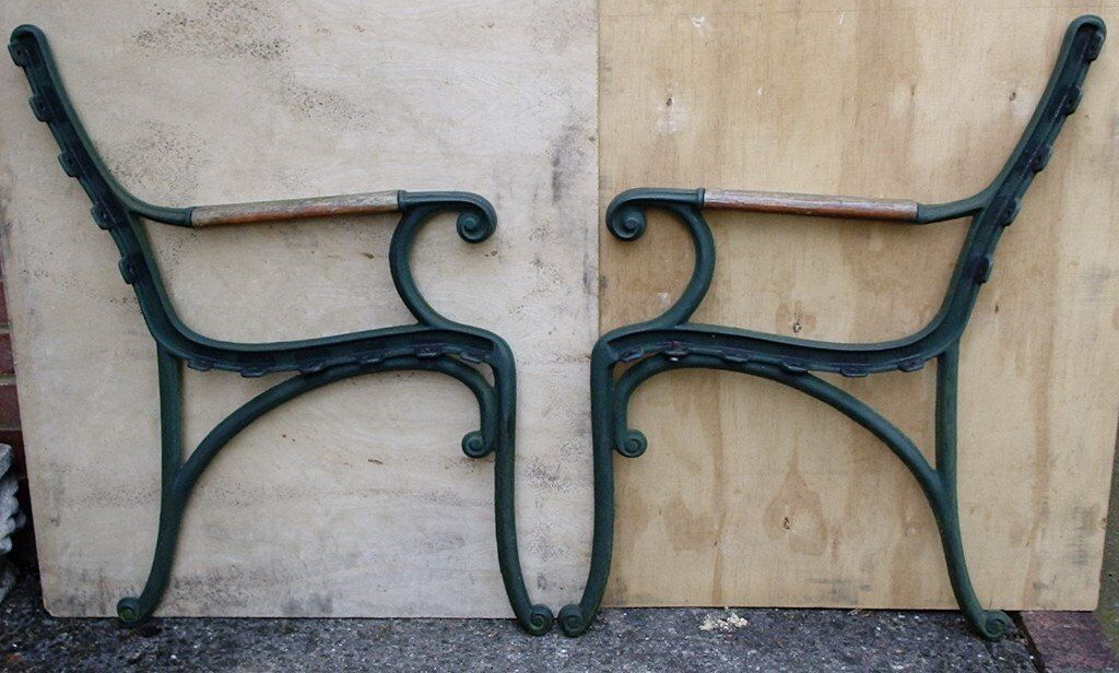 Heavy Duty Pair Of Vintage Cast Iron Bench Ends Garden Chair Seat 2 Ends Set 1 In Rayleigh