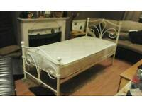 Cream metal single bed and orthopedic mattress in like new condition feel free to contact me