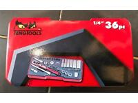 Brand new in box Tengatools 1/4 inch socket set metric drive (36 pieces