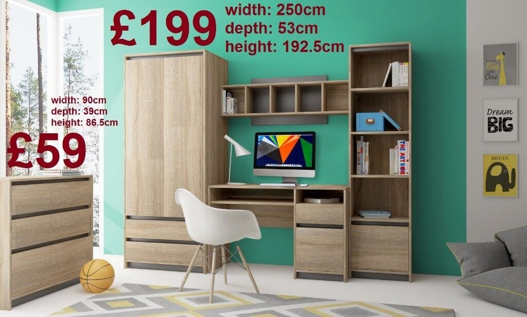 BRAND NEW Wall Units Offcie Children Room (Desk, Wardrobe, Shelving ...