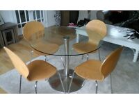 Round Glass Top Dining Table and 4 Chairs