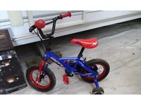 Bike with stabilisers, boys, age 3-5, 12inch frame