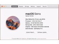 "iMac Retina 5K 27"" 4 GHz Intel Quad Core i7, 24GB RAM, 4GB Graphics Applecare Warranty"