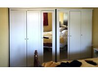 3 door wardrobe (two available), Ikea, white with mirror