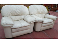 LEATHER ARMCHAIRS x 2 *FREE TO UPLIFT*